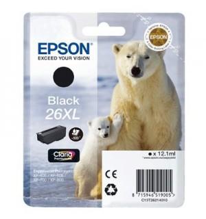 T2621 / T26214 Картридж черный (№26XL) для Epson XP-600/ 605/ 700/ 710/ 800/ 820 (500 стр.), Black (повышенной емкости, пигментные чернила)