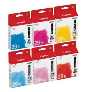 PGI-29C/M/Y/PC/PM/R [4873B005] Комплект из шести чернильниц по 36 мл включает по одной чернильнице с голубыми, пурпурными, желтыми, глянцевыми голубыми, глянцевыми пурпурными и красными чернилами для PIXMA PRO-1. 36мл. [4873B005]