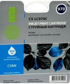 LC-970C Совместимый Картридж Cactus для Brother DCP-135C/150C/970C/ MFC-235C/ 260C (350 стр.) Cyan