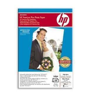 Q8027A HP Premium+, глянцевая фотобумага высш. кач-ва, 10х15 с отрывным ярлычком, 280 г./ м2, (25 л.