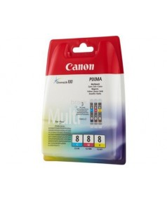 CLI-8 C/M/Y MULTI PACK [0621B029] Набор картриджей к Canon Pixma MP500/ MP510/ MP530/ MP600/ MP610/ MP800/ MP810/ MP830/ MP950/ MP970, MX850, iP3300/ iP4200/ iP4300/ iP4500/ iP5200/ iP5300/ iP6600D/ iP6700D/ Pro9000/ix4000