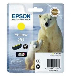 T2614 / T26144 Картридж желтый (№26) для Epson XP-600/ 605/ 700/ 710/ 800/ 820 (300 стр.),  Yellow