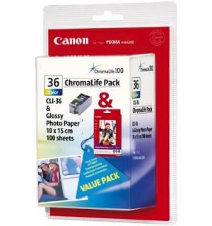 CLI-36 Chrom Pack [1511B008] Набор: Картридж к Canon PIXMA mini260 + 100л. бумаги GP-501