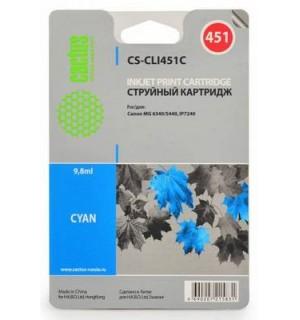 CLI-451C Совместимый картридж Cactus CS-CLI451C для CANON MG 6340/5440/IP7240, голубой (9,8 мл)
