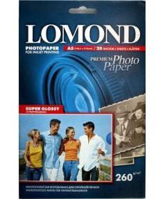 [1103104] Фотобумага LOMOND A5 SUPER GLOSSY BRIGHT, Суперглянцевая ярко-белая микропористая фотобумага для струйной печати, 20 л. 260 г/ м2