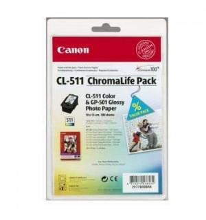 CL-511 [2972B008] CHROMALIFEPACK CANON Картридж цветной для PIXMA MP260 стандарт и 100 листов бумаги для повседневной фотопечати GP-501