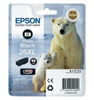 T2631 / T26314 Картридж фото-черный (№26XL) для Epson XP-600/ 605/ 700/ 710/ 800/ 820 (400 фото),  Photo Black (повышенной емкости)