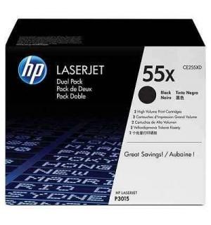 CE255XD HP 55X Двойная упаковка картриджей для HP LaserJet для 3010/3015/ Enterprise 500 MFP M525 (2х12500стр)